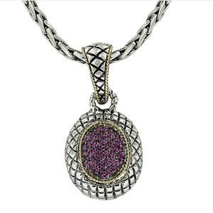 Effy Jewelry - EFFY Silver and 18K Gold Pendant with Pavé Rubies